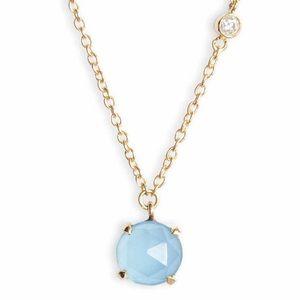 Argento Vivo Pendant Necklace Blue Chalcedony Gold